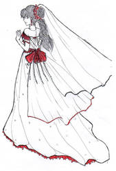 sketch of wedding gown by Ashurasakurahime