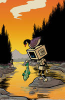 Robots Appreciating Nature 2 by RachelOrdwayArt