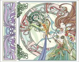 Art Nouveau Girl by blue-fusion