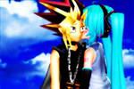 Yami/AtemuxMiku: Kiss on the cheek by justcatx3