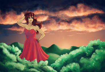 Red Dress in the Sunset by Tamaryna