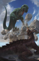 Gorosaurus vs Baragon by NoBackstreetboys