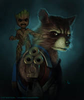 Rocket and Groot by Keith-DF