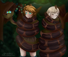 Commission Chiaki and  Chihiro Hypnotized by Kaa by EneTheLigthingDancer