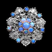 Art Nouveau Rainbow Moonstone flower silve jewelry by LilipilySpirit