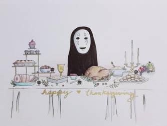 Kaonashi Thanksgiving  by Dot-Desperation