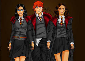 Heather Potter, Ron Weasley and Hermione Granger by LilyFlorette
