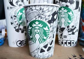 Starbucks Cups Doodle by SimplySaraArt