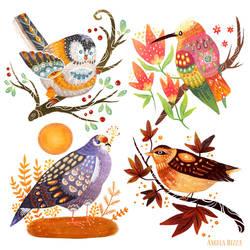 Seasonal Birds by AngelaRizza
