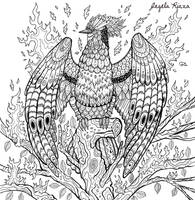 Phoenix Coloring Book Page by AngelaRizza
