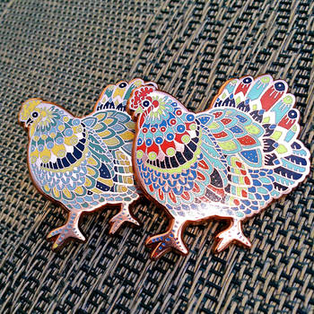 Chicken Enamel Pins by AngelaRizza