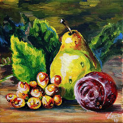 SOLD Pear, grapes and plump by Miruna-Lavinia