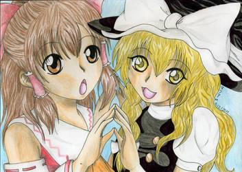 Reimu and Marisa by Chiri-Satomi