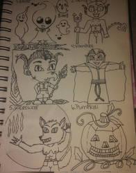 vampire, werewolf, pumpkin by crochetamommy