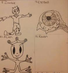 zombie, eyeball, alien by crochetamommy