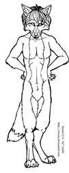 Free Male Werewolf Lineart Template by forumroleplay