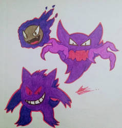 Gastly, Haunter and Gengar! by axl-universe