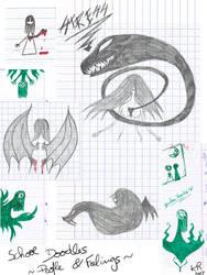 Doodles at school by KuroRyu-chan