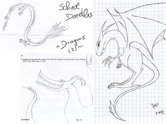 Doodles at school: dragons (again) by KuroRyu-chan