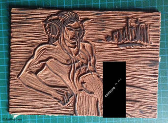 Linogravure Leviathan - plaque by Aelheann