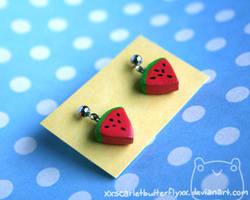 Watermelon Earrings by xXScarletButterflyXx
