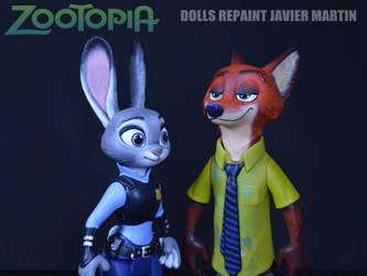 Zootopia Judy Nick repaint figures (ebay auction) by Javicharmed