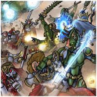 Sisters of Battle VS  Eldars by LordCarmi