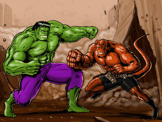 What if ? HULK VS. HELLBOY by S-Oh-yah
