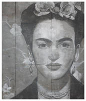 Frida Kahlo, pavement art by deepgrounduk