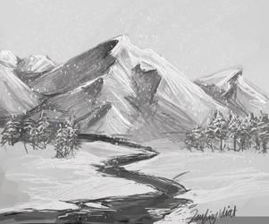 Study: Snowy Mountain by LaufingIdiot