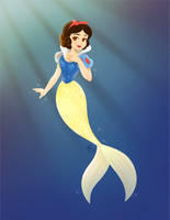 Snow White as a Mermaid by courtneymermaid