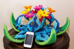 3D Origami Star Flower Ornament by Catstrosity