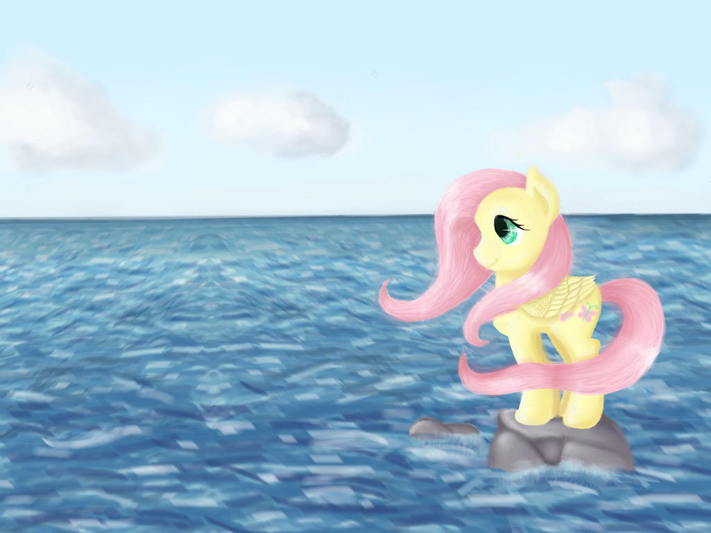 Yellow pegasus and the ocean by TurquoiseThought