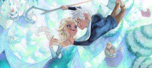 Frozen Elsa and Jack fan art by Angju