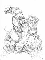 Hulk vs. Wolverine sketch by Max-Dunbar