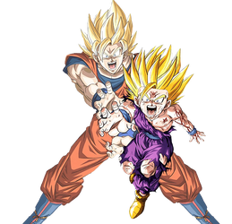Goku and Gohan - Dragonball Z - Render by EntemberDesigns