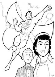 Silver Age Superman Trio Inks by BevisMusson