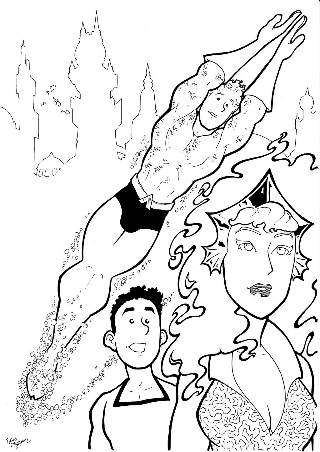 Silver age Aquaman Trio Inks by BevisMusson