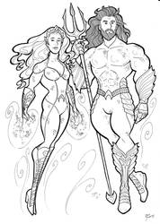 Mera And Aquaman Inks by BevisMusson