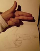 Sketch - Pew Pow hand by NezuPanda