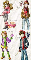Harry,Hermione,Ron,Ginny-Snow by louloudia1983
