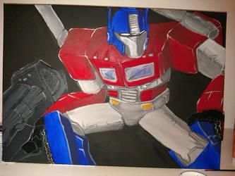 Optimus Prime acrylic painting by fosheez73
