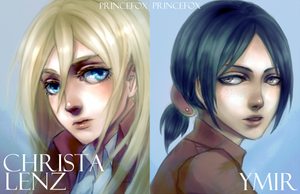 Christa + Ymir Postcards by Londei