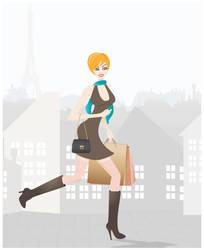 Shopping in Paris - illustration by PajkaBajka