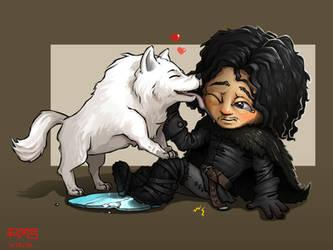 Chibi Jon Snow, feat. Ghost. by MakingPicsSlowly