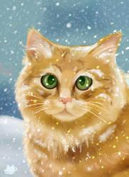 Snow Cat Portrait by cosmocatcrafts