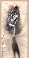 Spirit Wolf Painted Feather by Leopreston