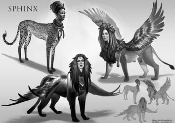 The Triumfeminate of Sphinxes by KaynessArt