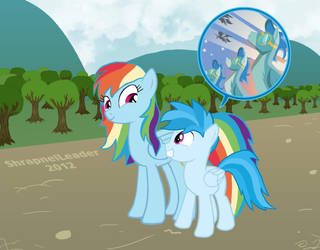 Rainbow Dash and her son Tempest by ShrapnelLeader