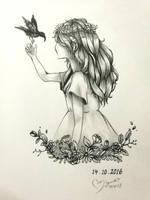 Inktober :: Flower girl by ufo-galz